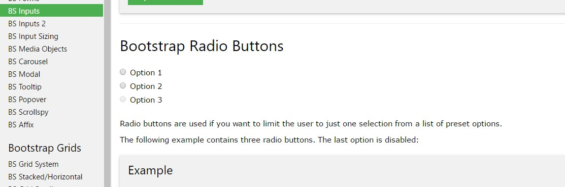 Bootstrap Radio button -  short training