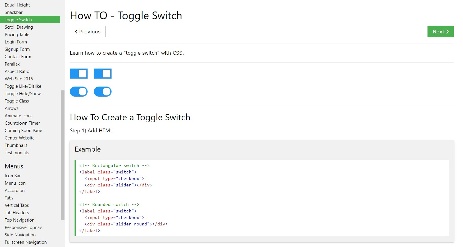 Ways to  set up Toggle Switch