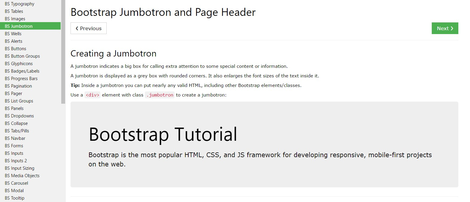 Bootstrap Jumbotron  short training